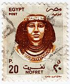 EGYPT - CIRCA 2000 : stamp printed in Egypt shows Queen Nefertiti was an Great Royal Wife of the Egyptian pharaoh Akhenaten, circa 2000