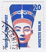 GERMANY - CIRCA 1970 : stamp printed in Germany shows bust of Queen Nefertiti , circa 1970