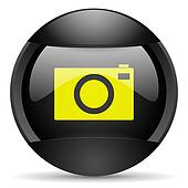 camera round black web icon on white background