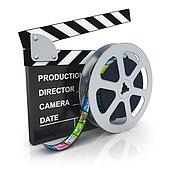 Clapper board and reel with filmstrip