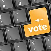 Computer keyboard with vote key, business concept