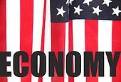 U.S. flag with economy word