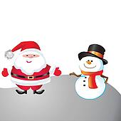 Snowman and santa of frame on christmas day