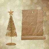 Christmas greeting card with gold metal firtree on the abstract background with bokeh effect
