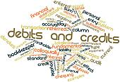 Word cloud for Debits and credits