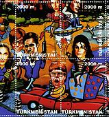TURKMENISTAN-CIRCA 2000: stamp printed in Turkmenistan shows USA stars Gillian Anderson (upL) David Duchovny (upR) Madonna (L) Mike Myers Chris Isaak Michael Jackson (R), Elton John (DC), circa 2000