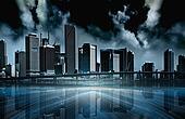 Dark city abstract illustration
