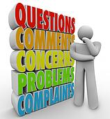 Questions Comments Concerns Thinking Person Words
