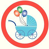 baby buggy with balloons