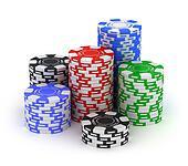 Big stack. Poker gambling chips