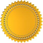 Award medal golden seal blank