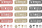 Grungy Shipping Labels And Icons