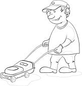 Gardener with lawn-mower, contour