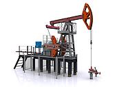 photorealistic oil pump-jack on a white background. 3d rendering