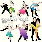 Rock\'n\'roll Dancers Silhouettes Set