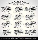 vintage month titles (vector)