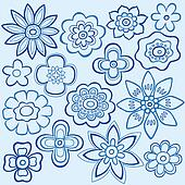 Blue Flower Doodles Vector Design