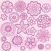 Pink Flower Doodles Vector Design