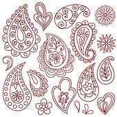 Henna Mehndi Tattoo Doodles Vectors