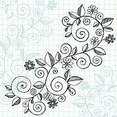 Sketchy Doodle Vines Vector Design