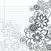 Flowers Sketchy Doodles Vector