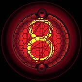 Digit 8 (eight). Nixie tube indicator