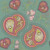 Heart paisley seamless pattern