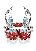 Winged heart with Scroll