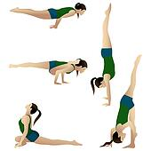 Pack1. Young woman practicing yoga