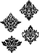 Damask flower patterns