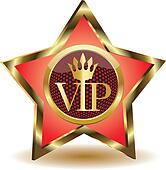 Gold star with a VIP.Vector