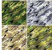 Seamless vector backgrounds - military camouflage fabric.
