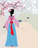 beautiful girl kimono under the sakura