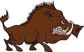 Angry cartoon boar