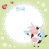 Vector background with cute cow