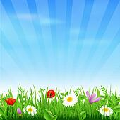 Sunburst Background With Flower And Grass