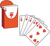 Poker Cards, Straight Flush, Hearts