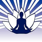 Pose Yoga Silhouette Whith Lotos