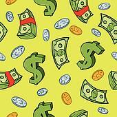 Seamless Cartoon Money Pattern