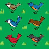 Seamless Cartoon Birds Pattern