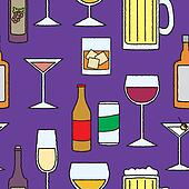 Seamless Cartoon Alcoholic Beverage
