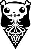 Illustration of skull in retro sty