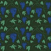Seamless pattern with bunches and leaves of grapes