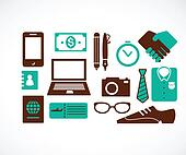 collection of business travel icons