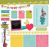 Scrapbook Design Elements - Birthday Baby Set - in vector