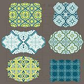 Vintage Tiles Design elements for scrapbook - Old tags and frames in vector