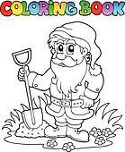 Coloring book cartoon garden dwarf