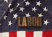 labor word on American flag