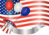 4th of July Balloons Illustration