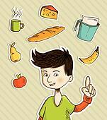 Cartoon teenager shows healthy food